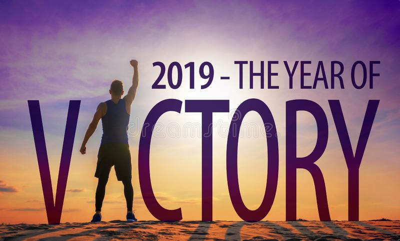 2019 - The Year of Victory. Inspirational quote stock photos
