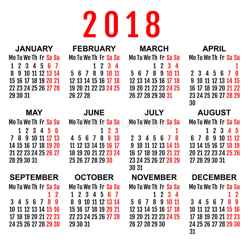 2018 Year Wall Calendar Grid Template Stock Vector Illustration Of
