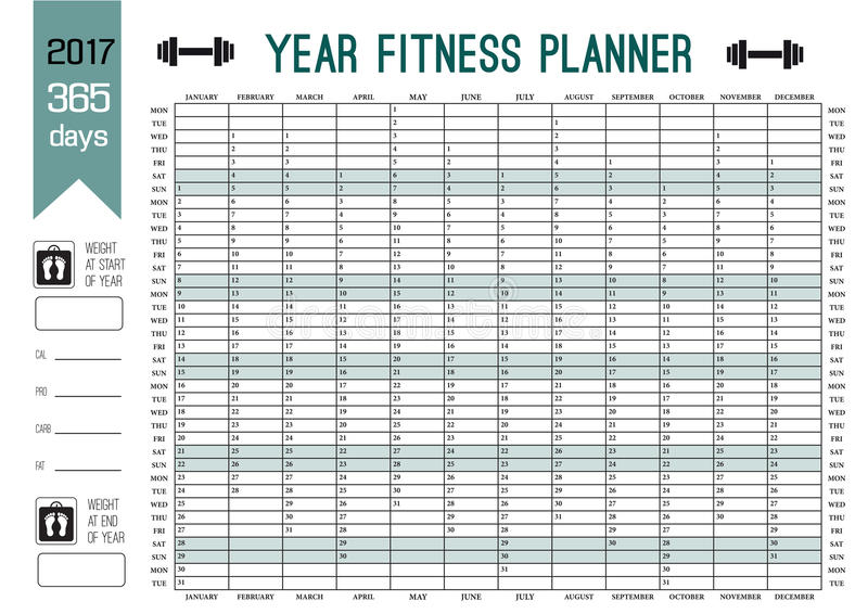 Year Wall Planner template. Plan out your whole fitness with this calendar. Vector Design for sport and diet. stock illustration
