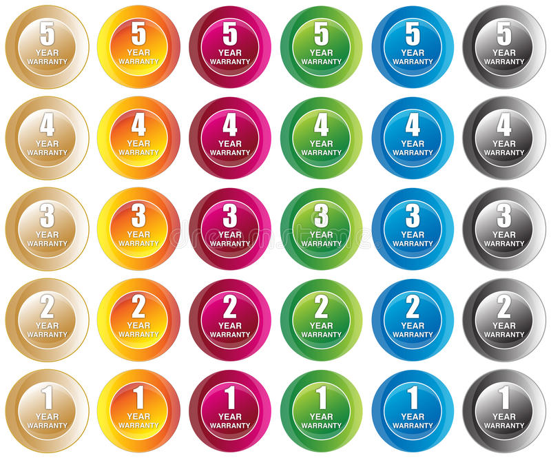 Year Warranty Buttons Royalty Free Stock Photos
