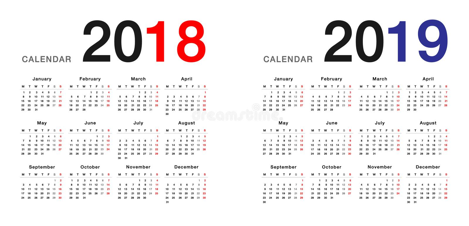 Year 2018 and Year 2019 calendar design template, simple and clean design. stock illustration