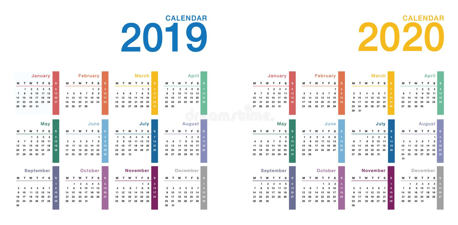 Year 2019 and Year 2020 calendar horizontal vector design template, royalty free illustration