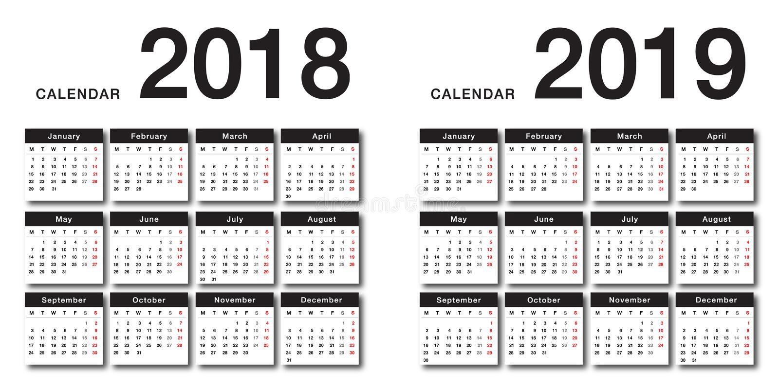 Year 2018 and Year 2019 calendar vector design template, simple and clean design. Calendar for 2018 and 2019 on White Background for organization and business vector illustration