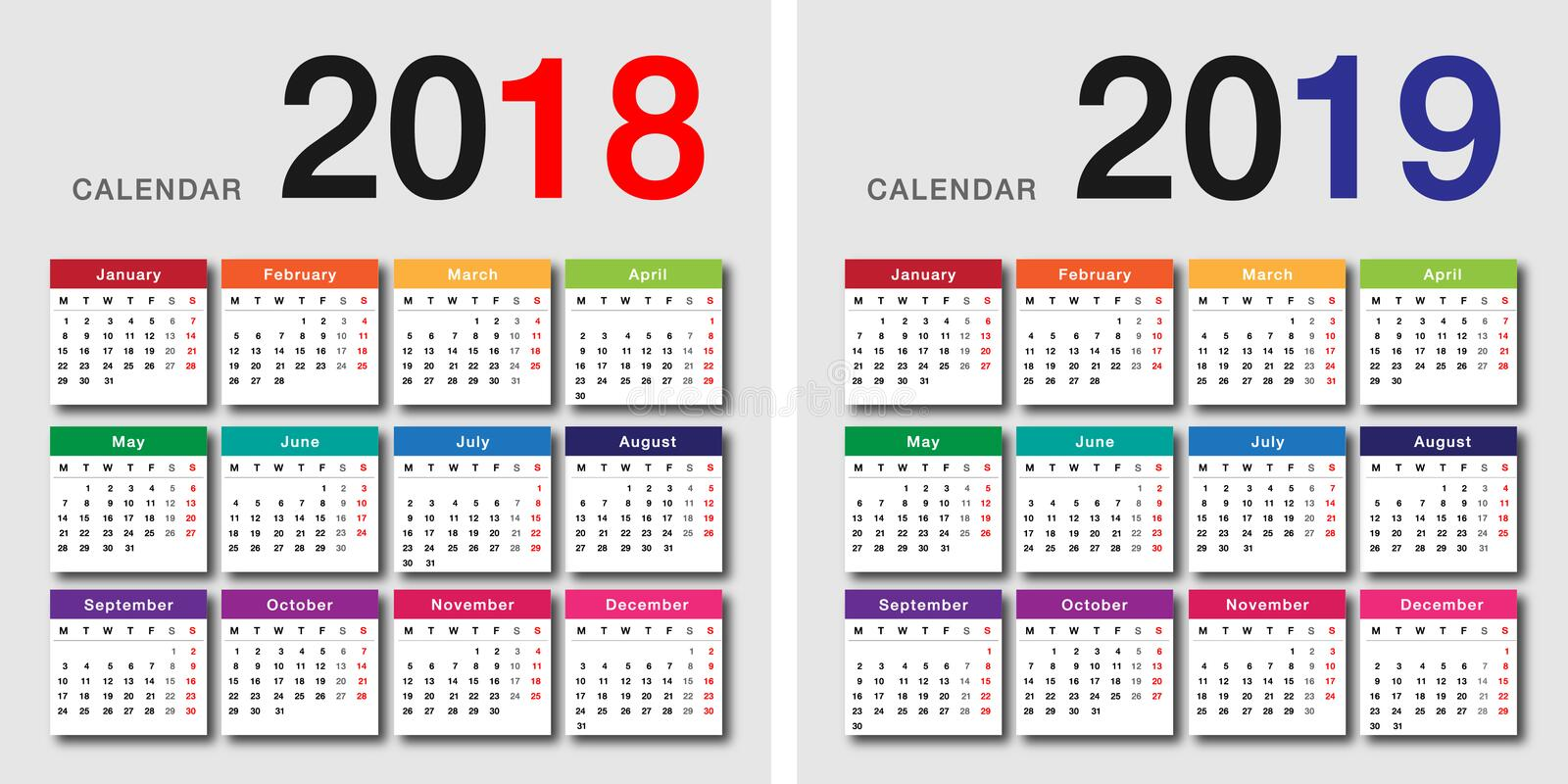 Year 2018 and Year 2019 calendar vector design vector illustration