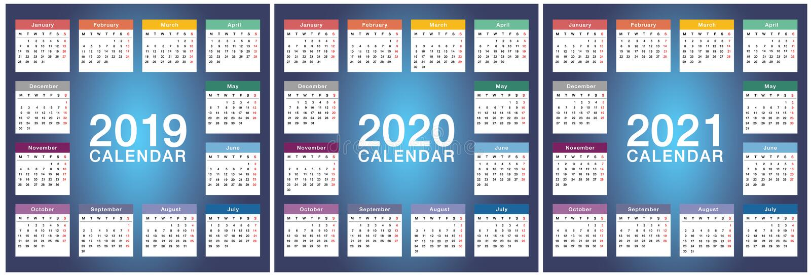 Year 2019 and Year 2020 and Year 2021 calendar vector design template, simple and clean design. Calendar for 2020 and 2021 on colo. R Background for organization stock illustration