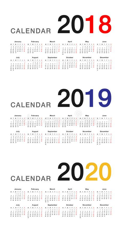 Year 2018 and Year 2019 and Year 2020 calendar vector design template, stock illustration