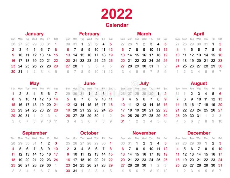 2022 Annual Calendar.2022 Yearly Calendar 12 Months Yearly Calendar Set In 2022 Set Of Calendar Year 2022 Calendar Template Stock Vector Illustration Of February Period 145914267