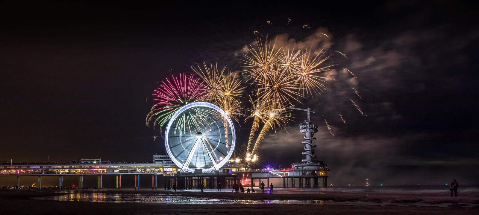 Fireworks Festival Scheveningen. Yearly Fireworks Festival in Scheveningen The largest freely accessible fireworks event in Europe is now organized for the 39th royalty free stock image
