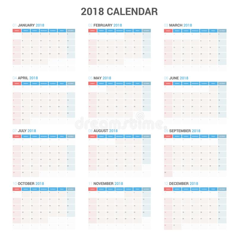 Yearly Wall Calendar Planner Template for 2018 Year. Vector Design Print Template. vector illustration