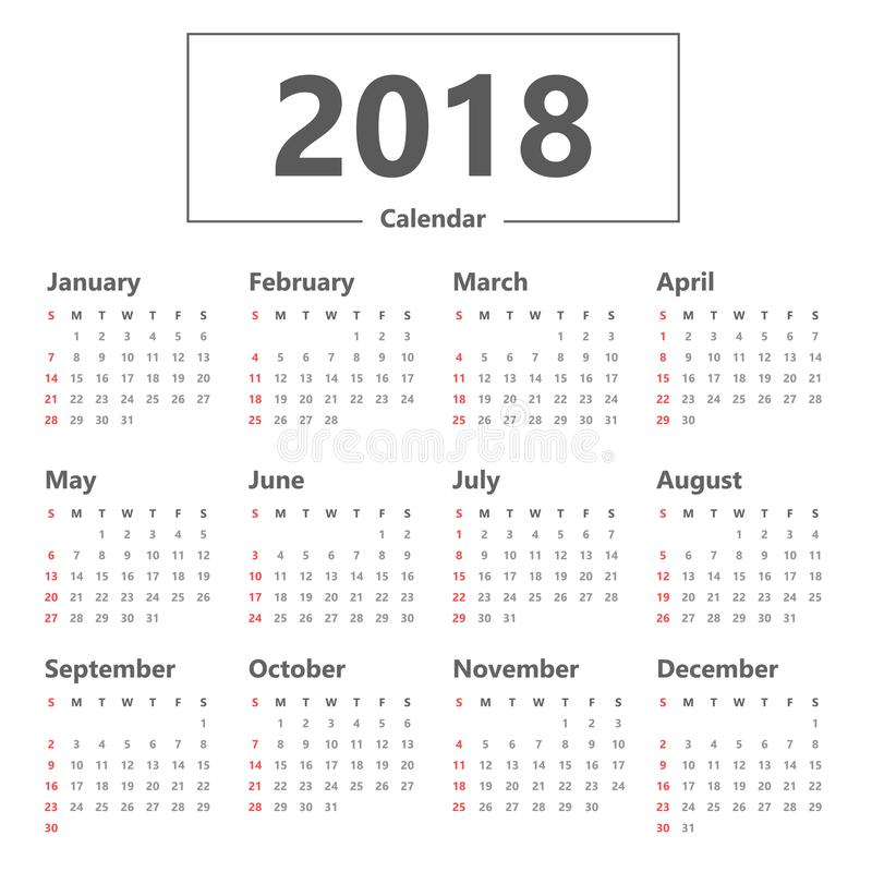 Yearly Wall Calendar Planner Template For 2018 Stock Vector