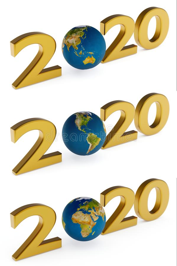 Yearr 2020 and earth globe royalty free stock photography