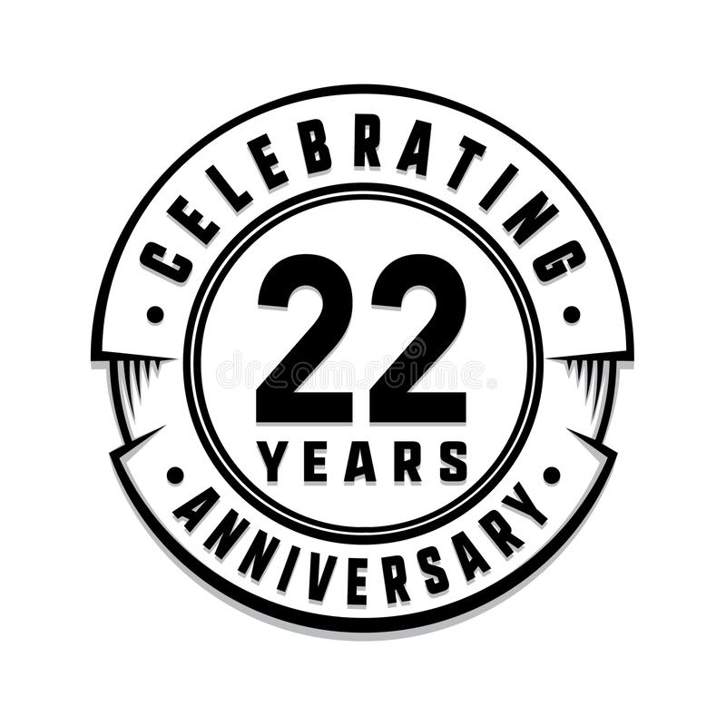 22 years anniversary logo template. 22nd vector and illustration. 22 years anniversary celebration design template. Twenty-two years celebrating vector and stock illustration