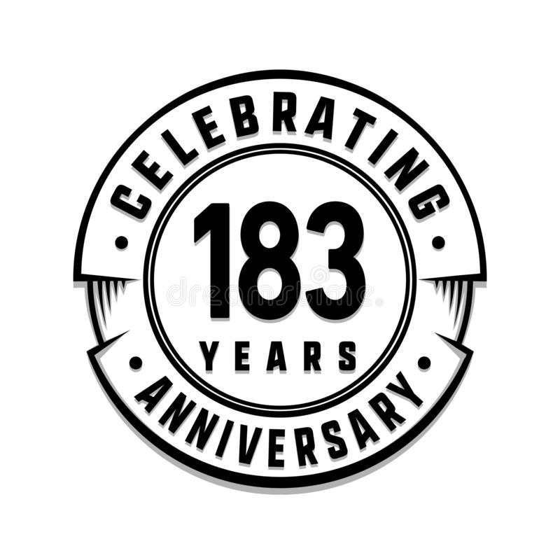 183 years anniversary logo template. 183rd vector and illustration. 183 years anniversary celebration design template. 183 years celebrating vector and royalty free illustration