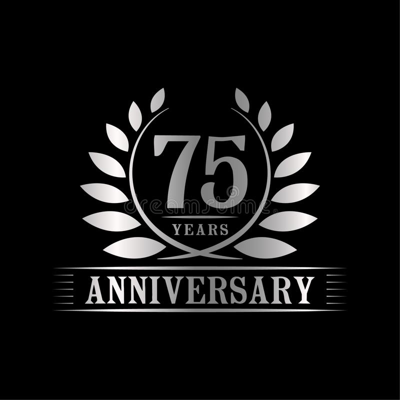 75 years anniversary celebration logo. 75th anniversary luxury design template. Vector and illustration. 75 years anniversary celebration design template stock illustration