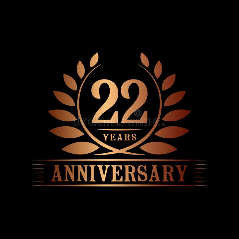 22 years anniversary celebration logo. 22nd anniversary luxury design template. Vector and illustration. 22 years anniversary celebration design template vector illustration