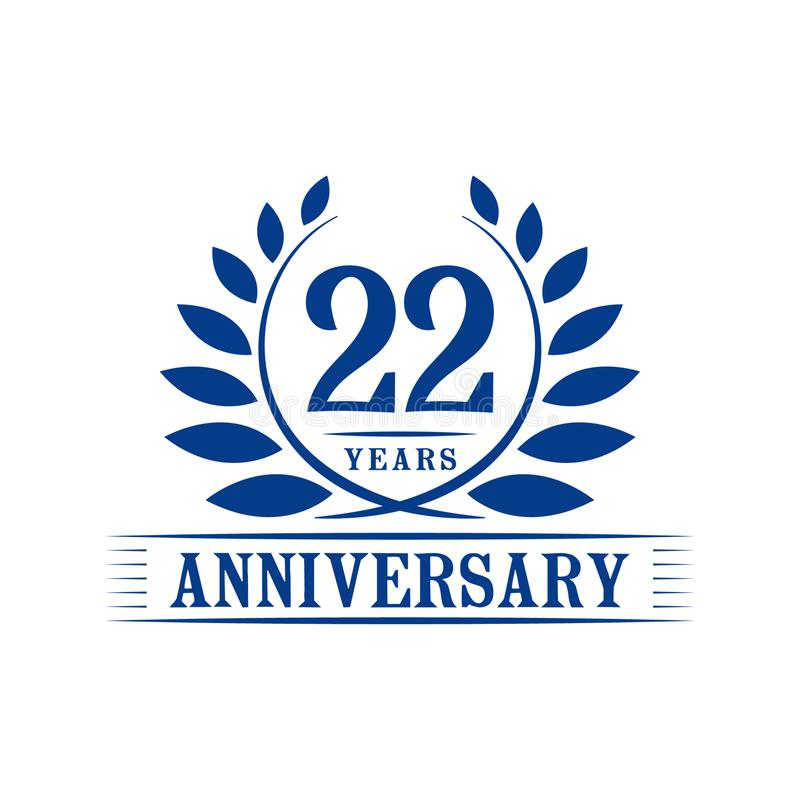 22 years anniversary celebration logo. 22nd anniversary luxury design template. Vector and illustration. 22 years anniversary celebration design template stock illustration