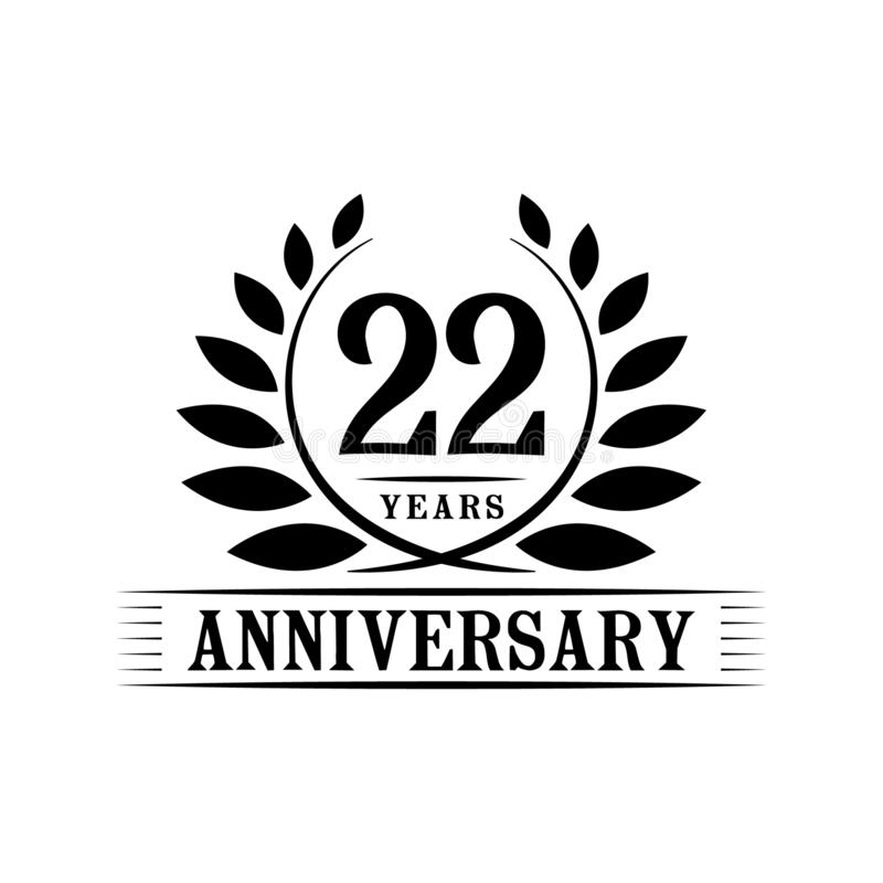 22 years anniversary celebration logo. 22nd anniversary luxury design template. Vector and illustration. 22 years anniversary celebration design template royalty free illustration