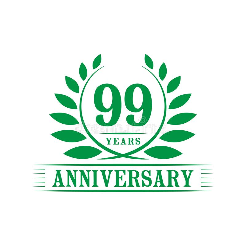 99 years anniversary celebration logo. 99th anniversary luxury design template. Vector and illustration. 99 years anniversary celebration design template royalty free illustration