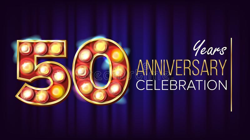 50 Years Anniversary Banner Vector. Fifty, Fiftieth Celebration. Lamp Background Digits. For Happy Birthday Luxurious. Advertising Design. Retro Background stock illustration