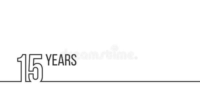 15 years anniversary or birthday. Linear outline graphics. Can be used for printing materials, brouchures, covers, reports. Vector royalty free illustration