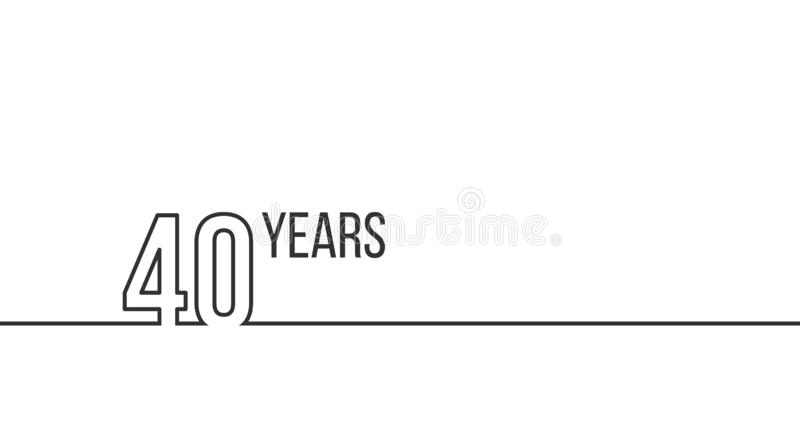 40 years anniversary or birthday. Linear outline graphics. Can be used for printing materials, brouchures, covers, reports. Vector royalty free illustration