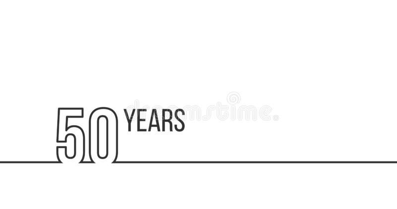 50 years anniversary or birthday. Linear outline graphics. Can be used for printing materials, brouchures, covers, reports. Vector stock illustration