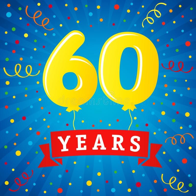 60 years anniversary celebration with colored balloons & confetti royalty free illustration
