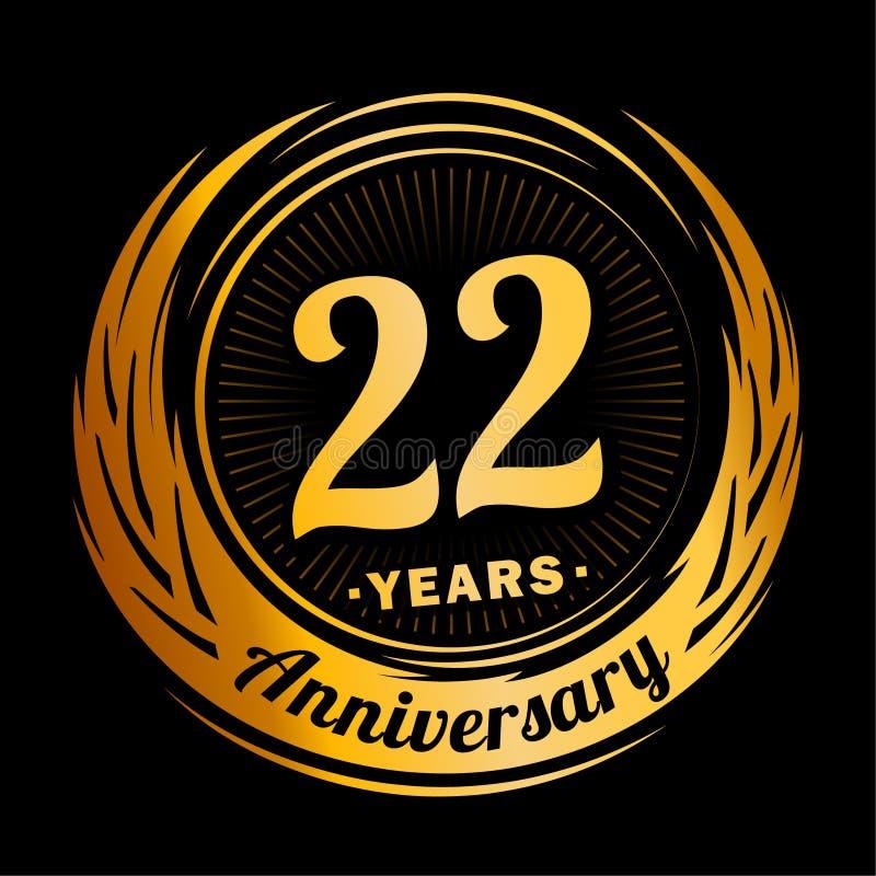 22 years anniversary. Elegant anniversary design. 22nd logo. 22 years anniversary celebration design template. Twenty-two years celebrating vector and royalty free illustration