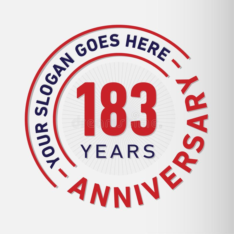 183 Years Anniversary Celebration Design Template. Anniversary vector and illustration. 183 years logo. 183 years anniversary celebration design template. 183 royalty free illustration
