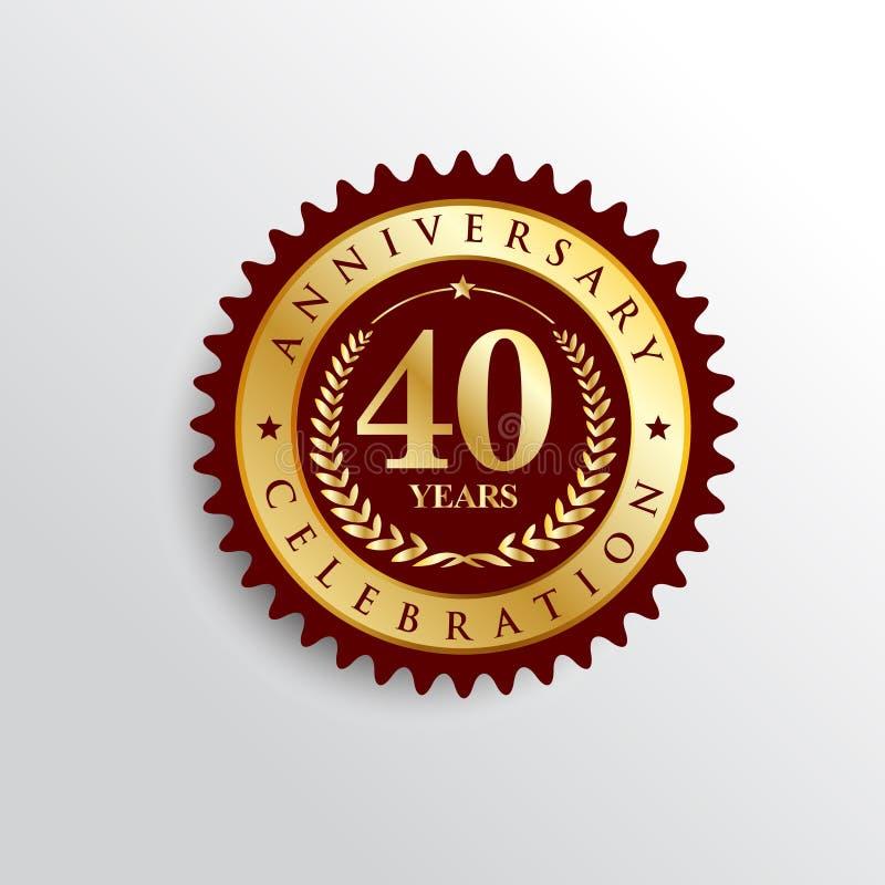 40 Years anniversary celebration Golden badge logo. vector illustration