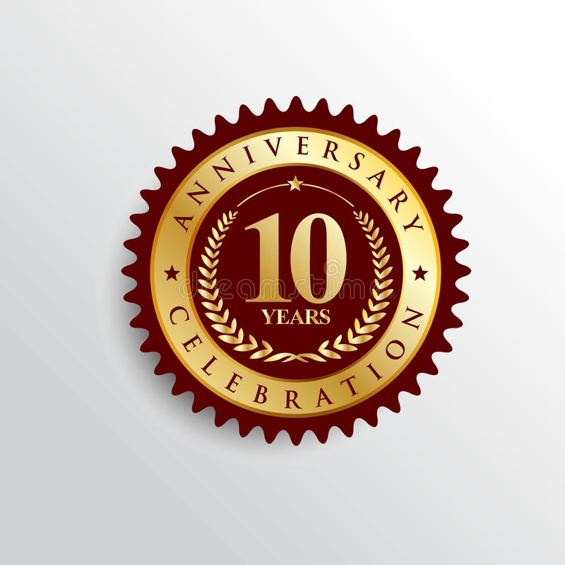 10 Years anniversary Golden badge logo. vector illustration