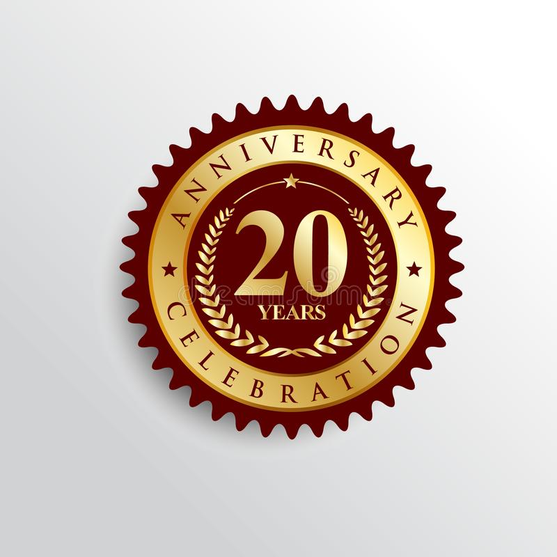 20 Years anniversary Golden badge logo. royalty free illustration
