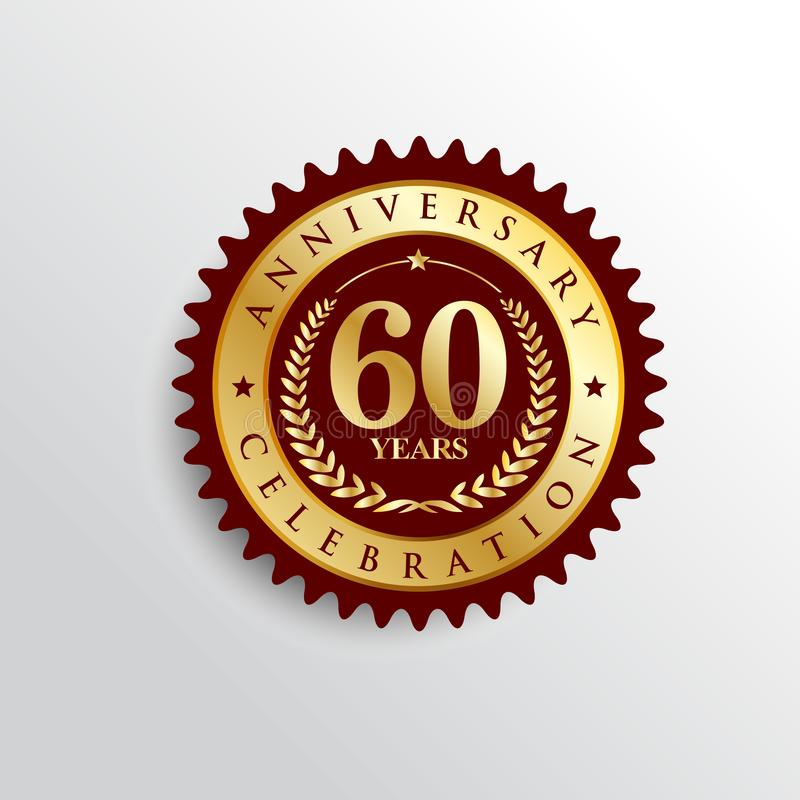 60 Years anniversary celebration Golden badge logo. stock illustration