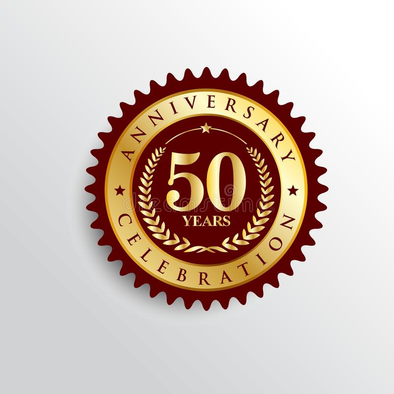 50 Years anniversary celebration Golden badge logo. royalty free illustration
