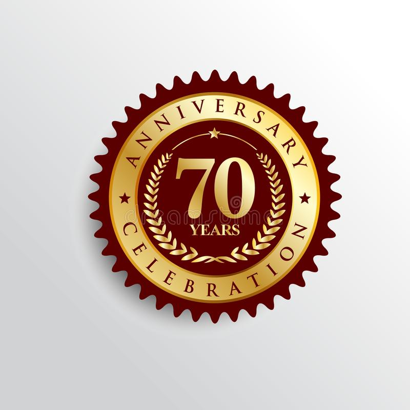 70 Years anniversary celebration Golden badge logo. vector illustration