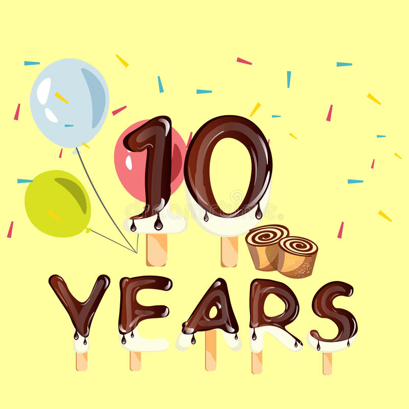 10 Years Anniversary celebration logo, birthday royalty free illustration