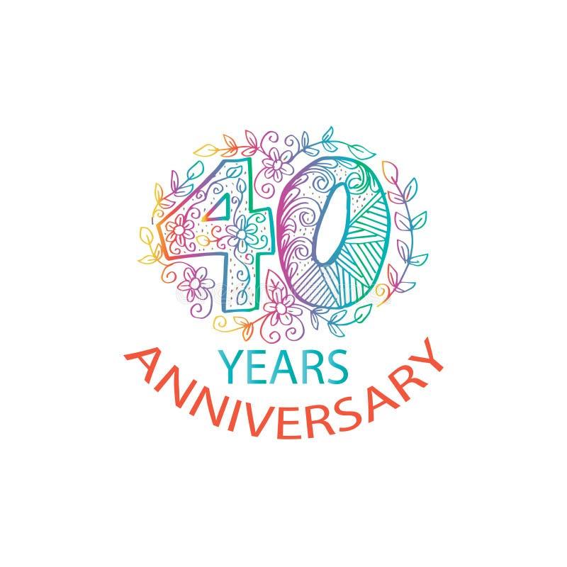40 years anniversary celebration logo stock illustration