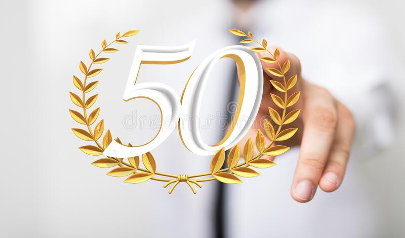A 50 years anniversary celebration logotype with elegant celebration. 50 years anniversary celebration logotype with elegant celebration royalty free stock photo