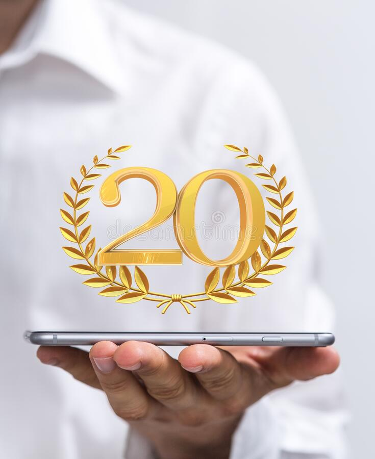 A 20 years anniversary celebration logotype with elegant celebration. 20 years anniversary celebration logotype with elegant celebration royalty free stock image