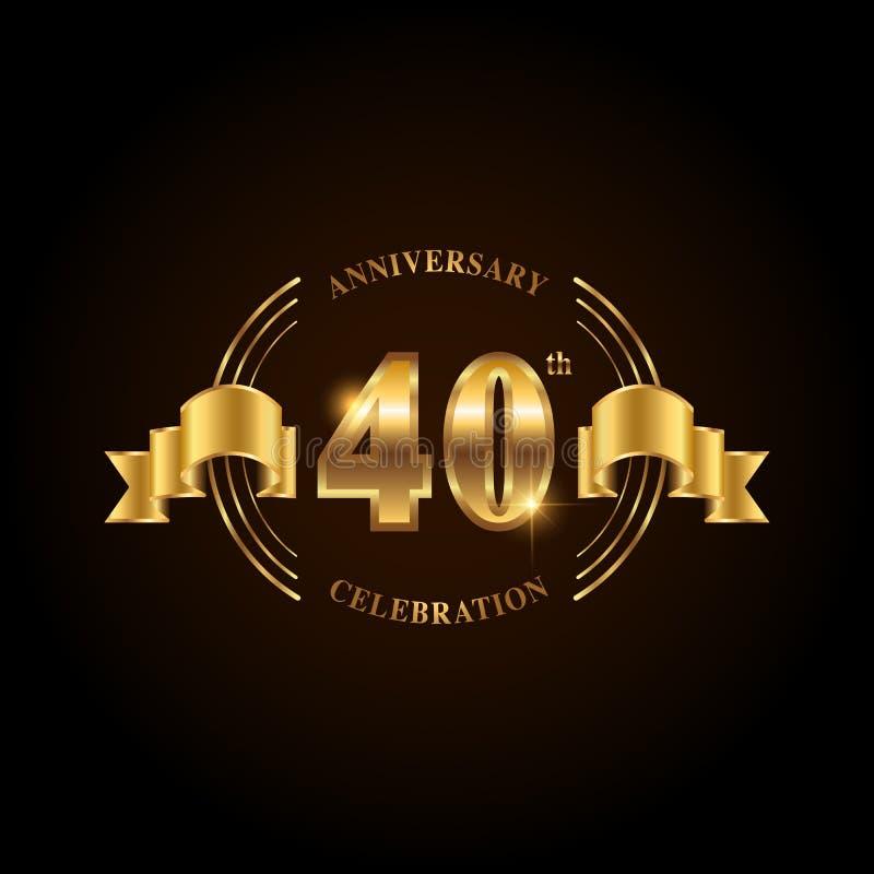 40 years anniversary celebration logotype. Golden anniversary emblem with ribbon. Design for booklet, leaflet, magazine, brochure stock illustration