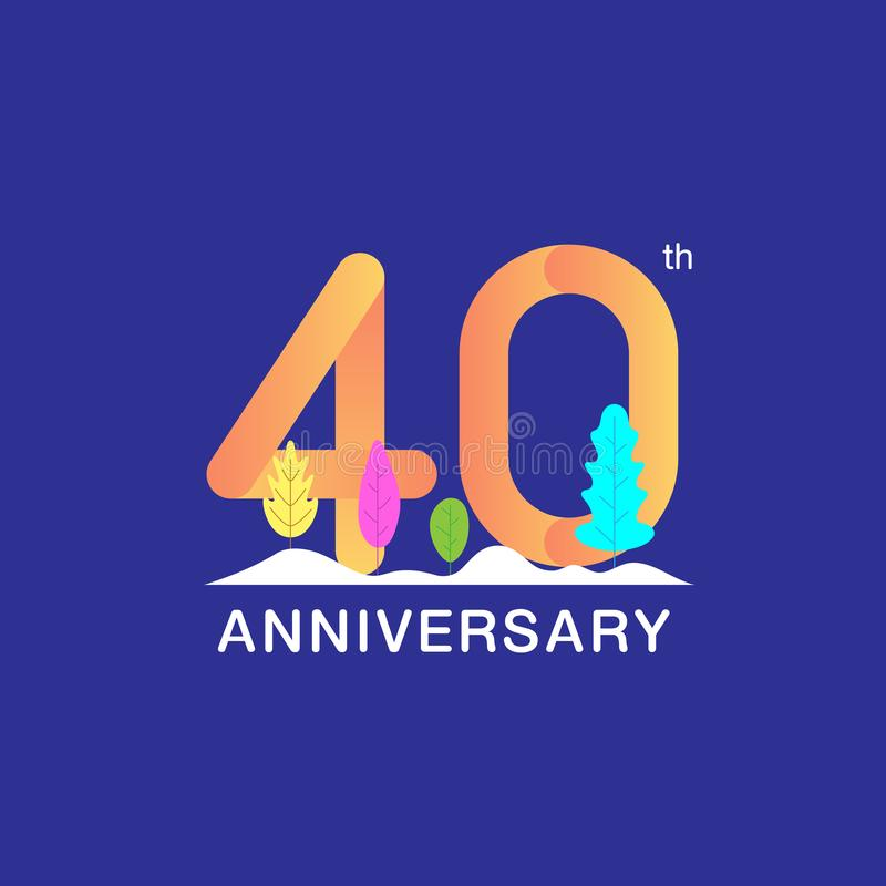 40 years anniversary celebration logotype. Multicolor number with modern leaf and snow background. Design for booklet, leaflet, vector illustration
