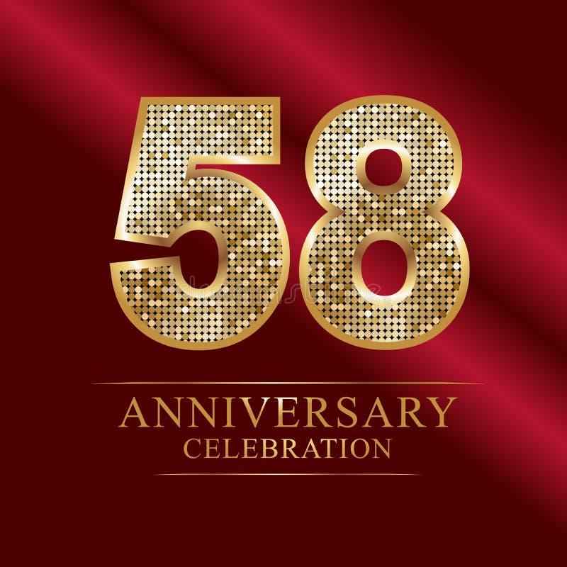 Elegant 18th Anniversary Logo Style: 58th Years Anniversary Logotype Disco Style . Stock