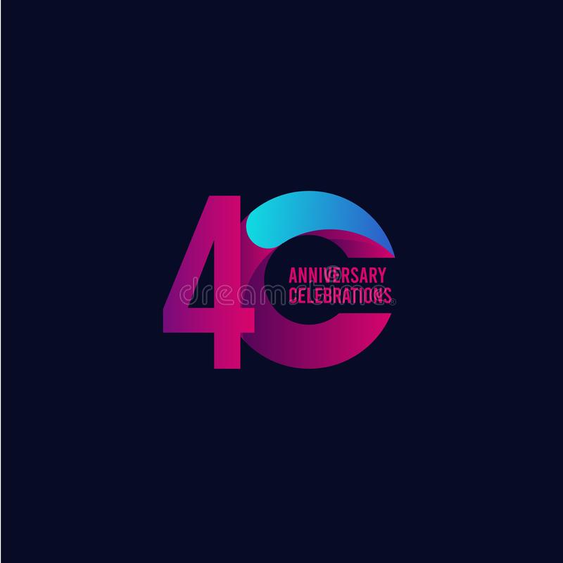 40 Years Anniversary Celebration, Purple and Blue Gradient Vector Template Design Illustration royalty free illustration