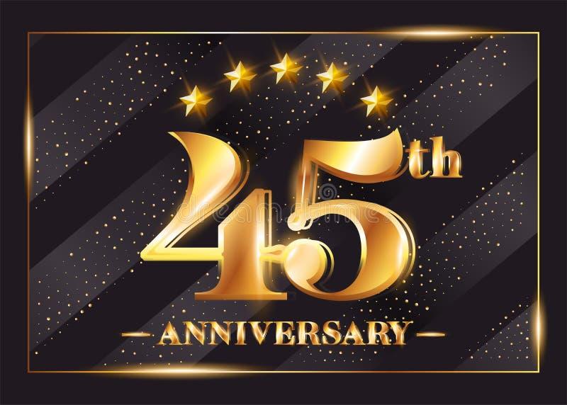 45 Years Anniversary Celebration Vector Logo. 45th Anniversary. stock illustration