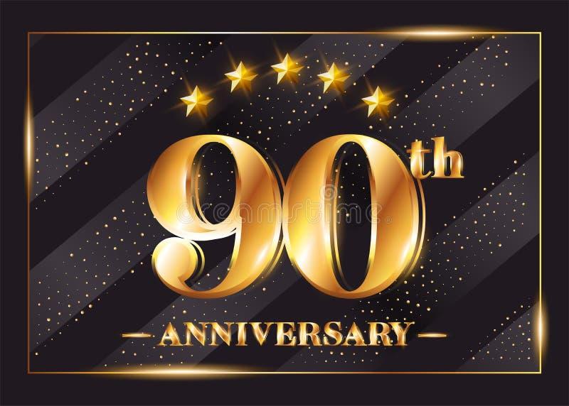 90 Years Anniversary Celebration Vector Logotype. stock illustration