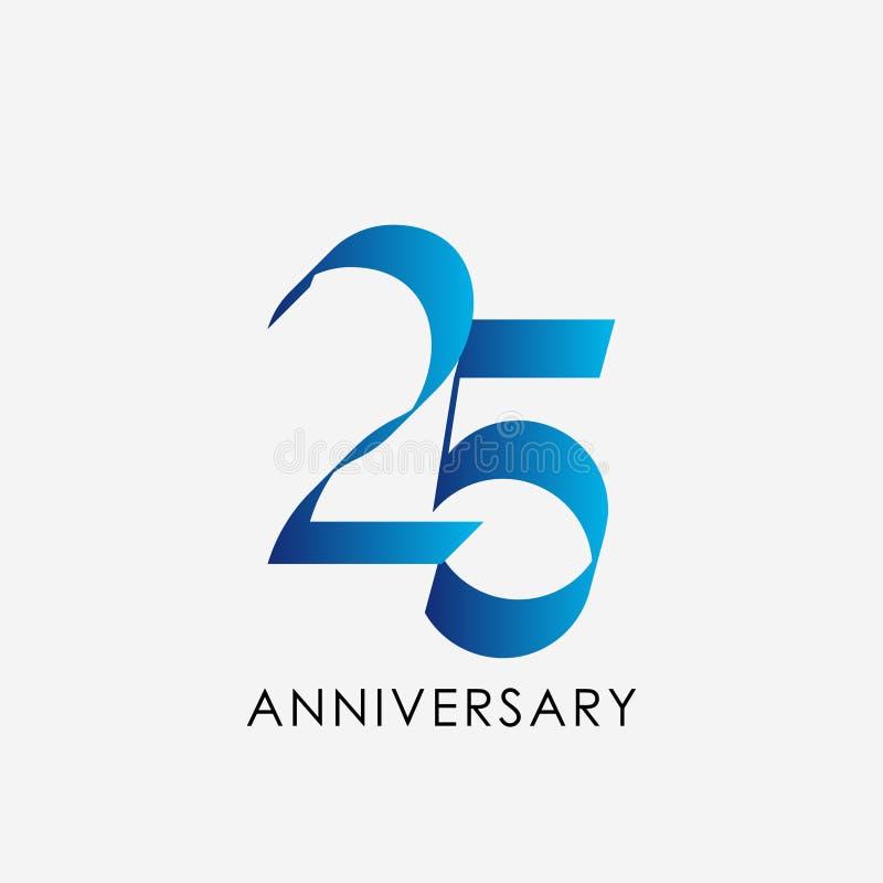 25 Years Anniversary Celebration Vector Template Design Illustration. 25th, logo, background, business, happy, celebrating, company, event, birthday stock illustration