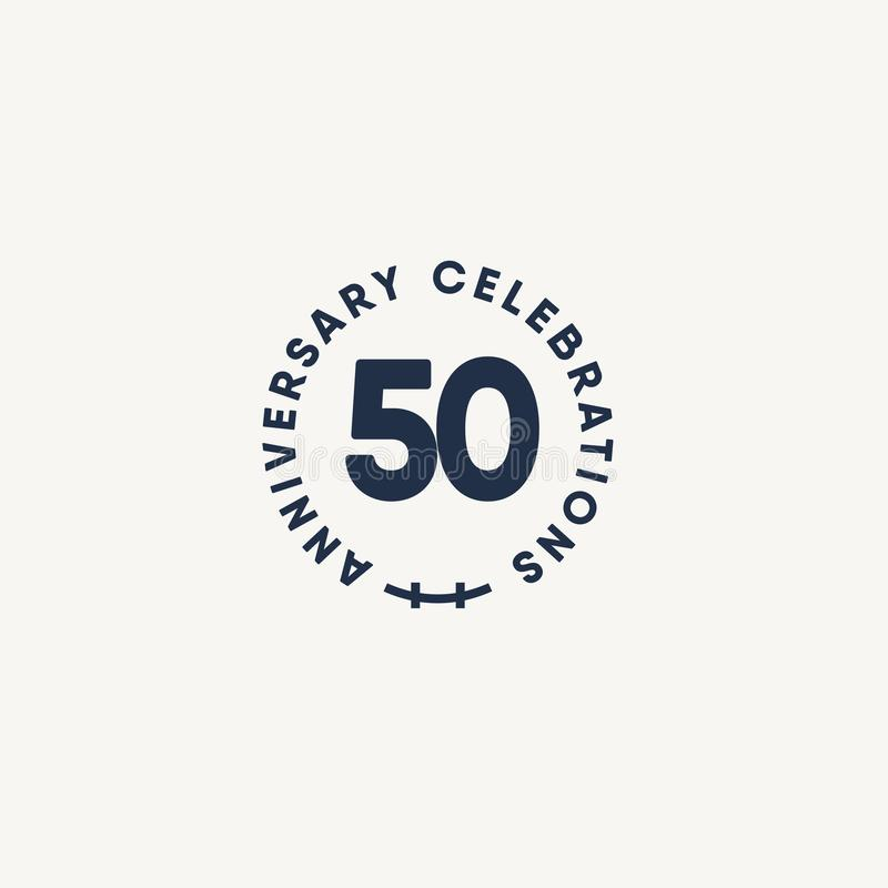 50 Years Anniversary Celebration Vintage Circle Vector Template Design Illustration. Advertisement, corporate, greeting, ten, isolated, jubilee, text, marriage vector illustration