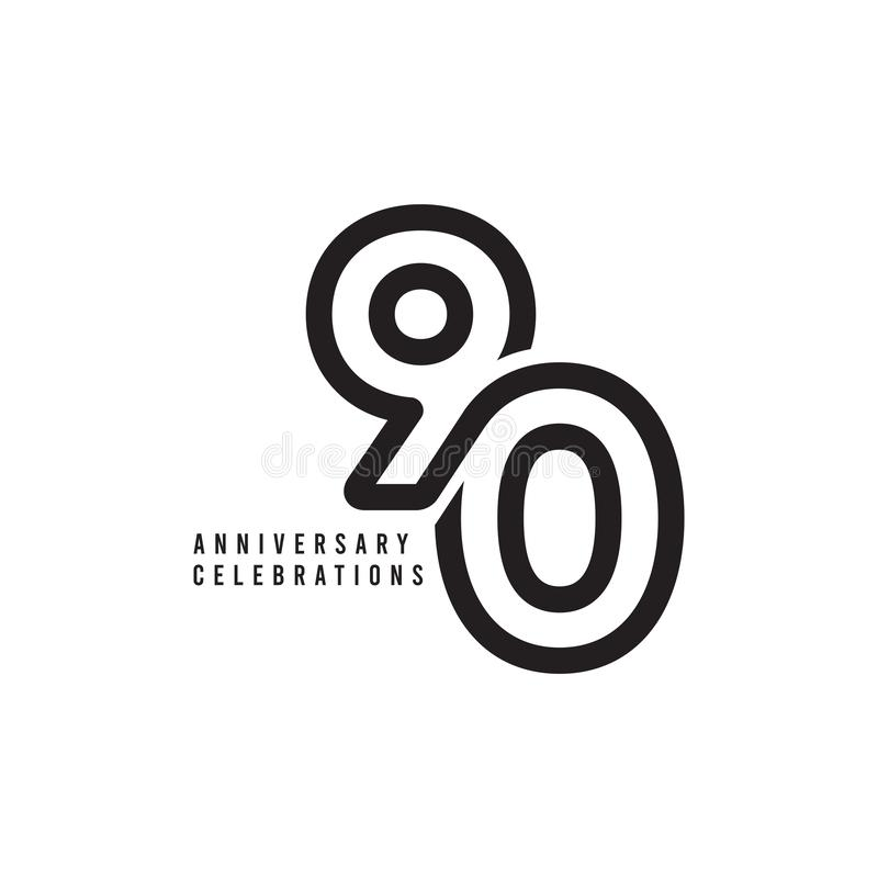 90 Years Anniversary Celebrations Vector Template Design Illustration. Advertisement, corporate, greeting, ten, isolated, jubilee, text, marriage, ceremony stock illustration