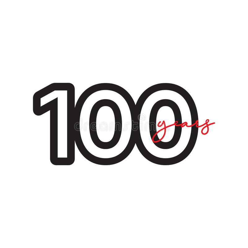 100 Years Anniversary Celebrations Vector Template Design Illustration. Advertisement, corporate, greeting, ten, isolated, jubilee, text, marriage, ceremony stock illustration