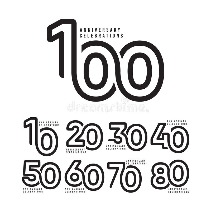 100 Years Anniversary Celebrations Vector Template Design Illustration. Isolated, web, gold, text, element, 100th, stamp, competition, remembered, season royalty free illustration